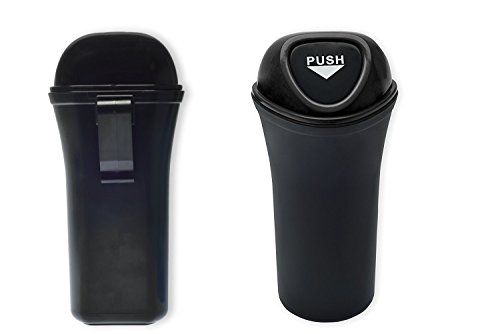Style Auto Car Trash Can Clips to Back Seat, Fits Cup Holder, and Side of Doors, with Car Registration and Insurance Card Holder Included | Push to Open Portable Waste Can, Black