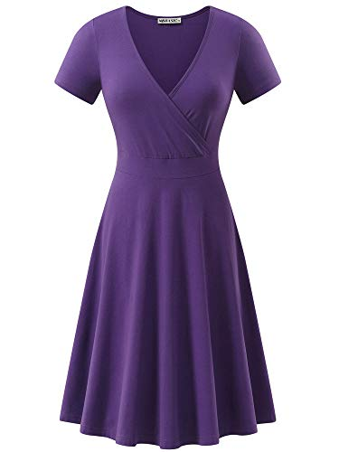 MSBASIC Deep V Neck Dress Work Dress for Women Purple M