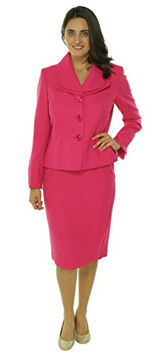 Evan Picone Women's Piece Double Collar Jacket Skirt Suit Set, Daisy Pink -