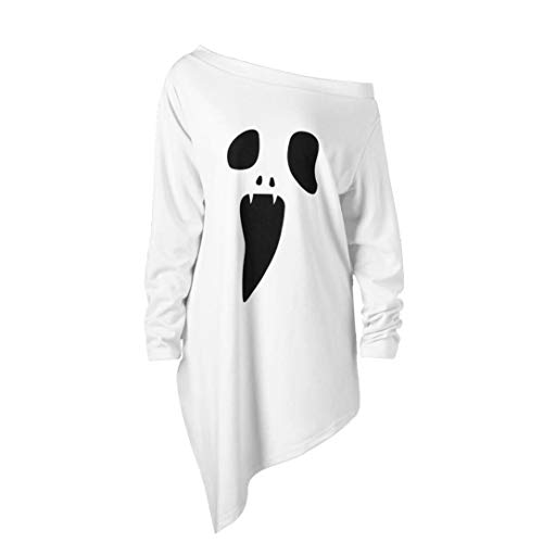 Boomboom Cool Style Young Women Ghost Print Halloween Long Blouse White S