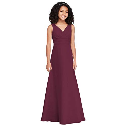 Surplice Tank Chiffon Junior Bridesmaid Dress Style JB9884, Wine, 16