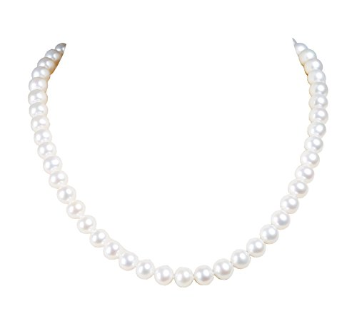 - AIDNI AAA Quality Freshwater Cultured White Round Pearl Necklace, Prince Length 18.5