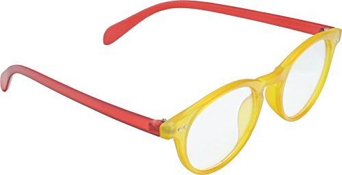 True Gear iShield Anti Reflective Computer Glasses Block Blue Light and Harmfull UV with Clear Lens for Kids and Teens - School Boy/ Girl Style - Red and Yellow with - Light Blue Glasses Reflective