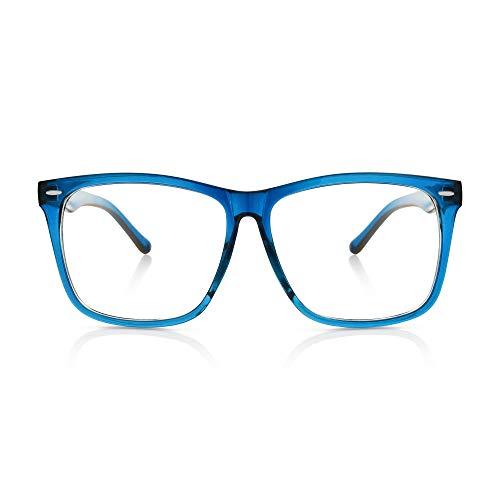 (5zero1 Fake Glasses Big Frame Clear For Women Men Fashion Classic Retro Costumes Party Halloween,)