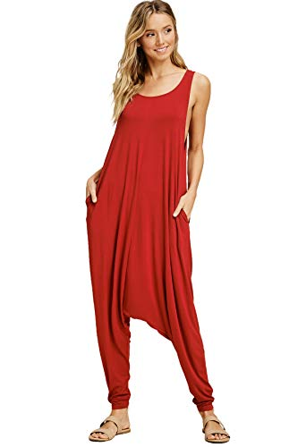 (Anneblle Women's Oversized Jumpsuits with Side Pockets Red Large J8004)