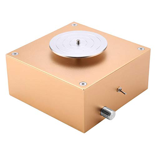 Clay Pottery Wheel, 3.3 Inch Diameter 12V Clay Making Pottery Machine Ceramic DIY Craft Accessories 1500RPM Luxury Gold(US Plug)