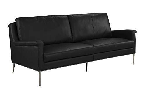- MidCentury Leather Sofa, Living Room Couch (Black)