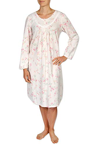Miss Elaine Women's Short Nightgown - Brushed Honeycomb Knit with Long Sleeves and a Round Neckline - Miss Elaine Short