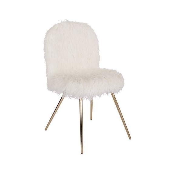 Ave Six JLA-F42 Julia Faux Fur Teen Accent Chair, White - Chic design Plush faux fur Sturdy metal legs - living-room-furniture, living-room, accent-chairs - 31jhuKWVN L. SS570  -