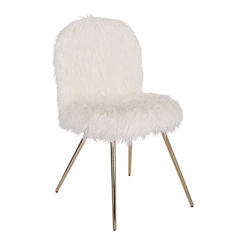 Ave Six JLA-F42 Julia Faux Fur Teen Accent Chair White
