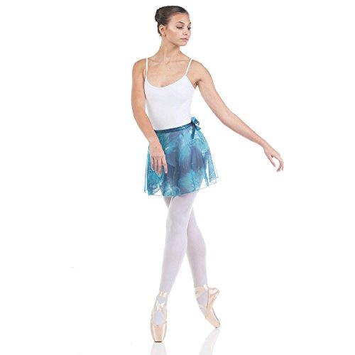 Adult Chiffon Wrap Skirt - Baiwu Women's Chiffon Print Flower Wrap Skirt, Royalgreen, P-S-Adult