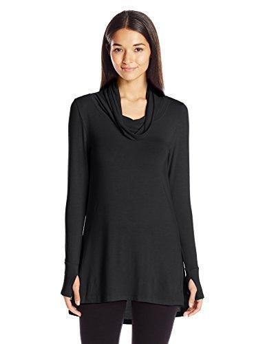 Cuddl Duds Women's Softwear with Stretch Long Sleeve Cowl Tunic, Black, X-Small (Cuddl Duds Black Long Underwear)
