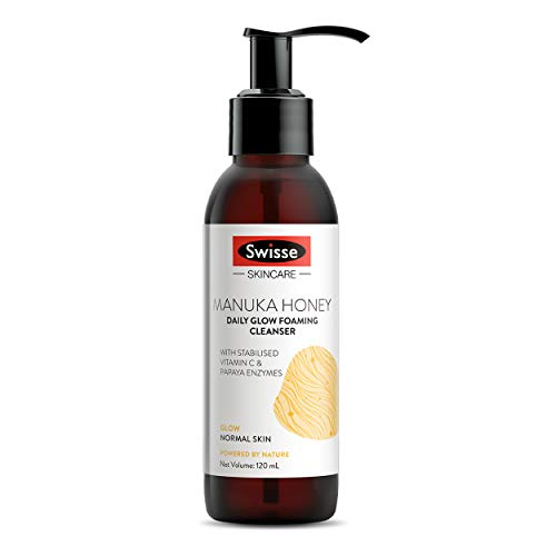 Swisse Skincare Manuka Honey Daily Glow Foaming Cleanser with Vitamin C and Papaya Enzymes – 120 ml (Normal Skin)