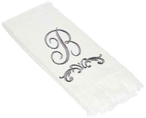 (Avanti Monogram Fingertip Towel, D-Scroll, White/Pewter)