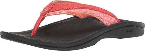 OLUKAI Women's 'Ohana Koa Sandal, Paprika/Black, 8 M US