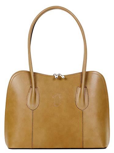 Primo Sacchi Italian Smooth Leather Dark Beige Classic Long Handled Handbag Tote Grab Shoulder Bag