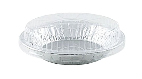 6 inch Aluminum Foil Pie Pan 15/16 inch Deep w/Clear Dome Lids Disposable Tin Plates