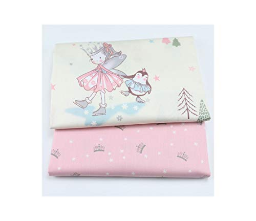Princess Girl Baby Cotton Twill Fabric,Patchwork Cloth,DIY Sewing Quilting Material for Baby&Child,50x40cm Crown