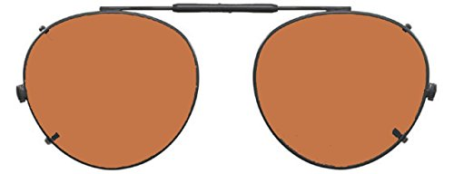 Visionaries Polarized Clip on Sunglasses - Round - Bronze Frame - 47 x 42 - Non Glasses Vs Polarized Polarized