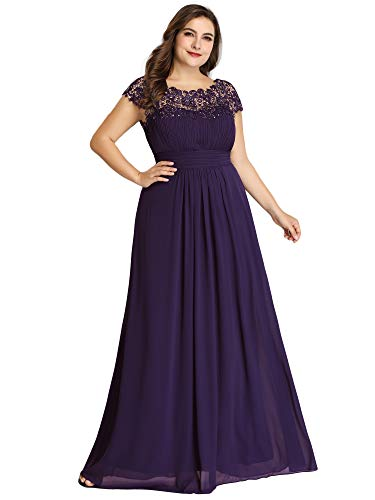 Ever-Pretty Womens Empire Waist Chiffon Ruched Wedding Party Bridesmaid Dresses Purple US 14