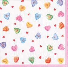 Caspari Candy Hearts Boxed Paper Triple-Ply Cocktail Napkins Set of 40