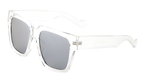 Thick Crystal Square Sunglasses Flat Color Mirror Lens (Clear/Silver, (Clear Silver Mirror Lens)