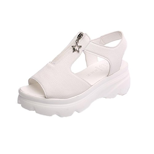 Transer Damen Sandalen, Keilabsatz Dicker Boden Studenten Klettband Reißverschluss Beige