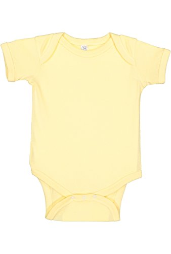 (Rabbit Skins Infant 100% Cotton Baby Rib Lap Shoulder Short Sleeve Bodysuit (Banana, 6 Months))