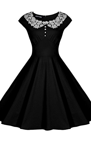 ACEVOG Womens Classy Vintage Audrey Hepburn Style 1940s Rockabilly Evening Dress