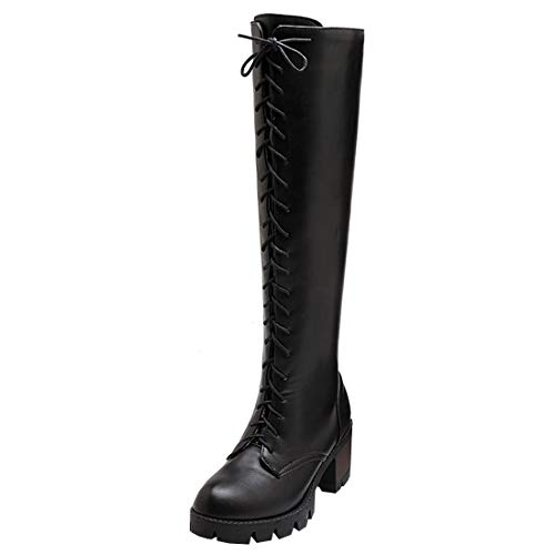 Artfaerie Women's Block High Heel Retro Knee High Boots Dolly Lolita Winter Long Shoes(US 8.5, Black)