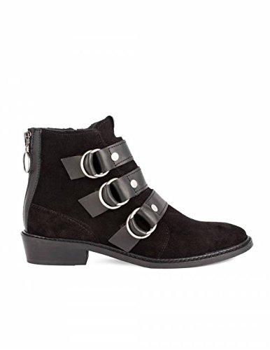 Botines Negros Serraje Hebillas PERA LIMONERA - Color - Negro, Talla Zapatos Mujer - 40: Amazon.es: Zapatos y complementos