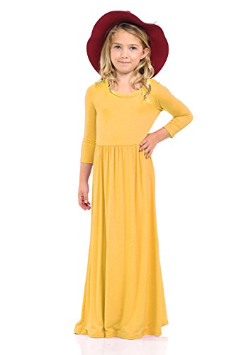 Pastel by Vivienne Honey Vanilla Girls' Fit and Flare Maxi Dress with Easy Removable Label X-Large / 11-12 Years Mustard ()