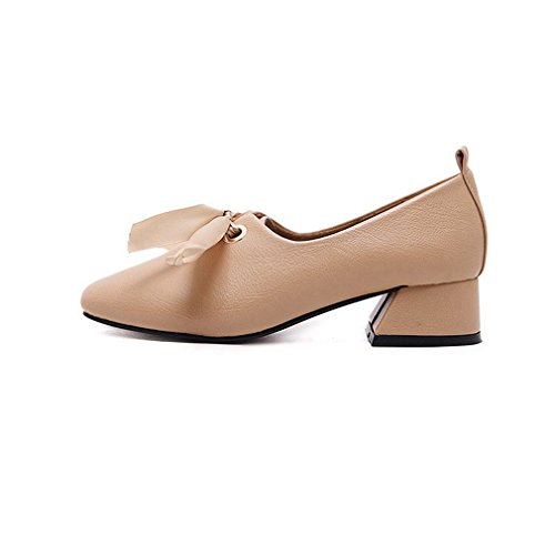 GIY Buckle Heel Beige Pumps Women's Shoes Block Toe Loafer Classic Square Loafers Slip On Penny Oxford Dress 1B1rqI
