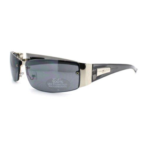 Men's Designer Fashion Rimless Narrow Rectangular Warp Around Sunglasses - Trans Black - Gq Sunglasses