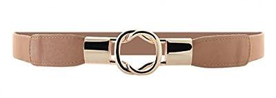 Women Metal Fashion Skinny Leather Belt Gold Elastic Buckle belt solid color