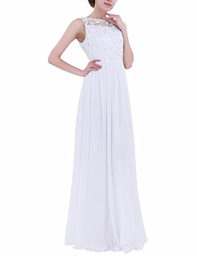 Floral Dress Lace Appliques FEESHOW Evening Gowns Chiffon Prom Wedding Long Women's White Bridesmaid 8HwT5