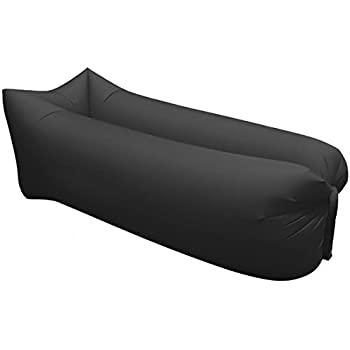 Outdoor Inflatable Lounger - Portable Fast Easy Self Inflating Couch Air Filled Beach Bed Hangout Bean Bag Blow Up Hammock Lounge Sack Airbag Chair (Black)