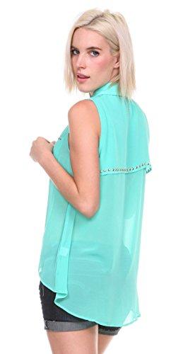 Stanzino® Women's Sleeveless Chiffon Button Down Shirt