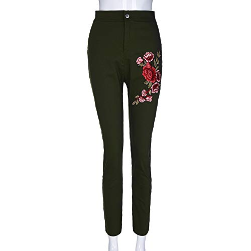 Ttaille Floral Reaso Fit Pantalon Crayon Maigre Sexy Slim Imprim Mode Applique Pant Pantalon Skinny Verte Stretch Pantalon Arme Jeans Haute Pantalon Femme q7prnp8E