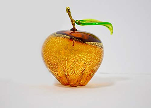 Murano Glass Hand Blown Amber Apple - Lifelike Glass Apple Made in Italy