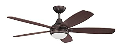 Kendal Lighting AC14652-CBRZ Espirit 52IN 5-Blade 1-Light Ceiling Fan with Copper Bronze Blades and Opal White Glass Integrated Light Kit, Copper Bronze Finish