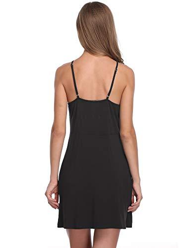 da Donna Sleepwear Strap Chemise Notte Camicia Notte V Lusofie Sexy Pizzo Nero Camicia da Neck w7n0ZqwYd