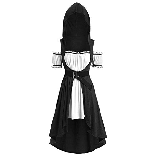 Tantisy ♣↭♣ Women's Plus Size Vintage Hoodies Dress Halloween Ghost Witch Cloak Hooded Robe Cosplay Costume Black