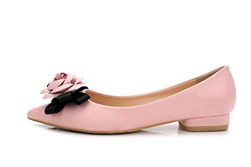 AalarDom Mujer Puntiagudo Mini Tacón Material Suave Sólido De salón Rosa