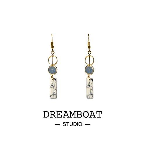 Custom hand-made two retro geometric blue dot white turquoise earrings sterling silver bells ear hook ear clip women girls - Bell Sterling Silver Turquoise Ring