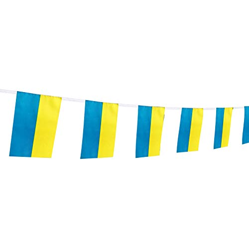 (Kind Girl Ukraine Flag Ukrainian Flag,100Feet/76Pcs National Country World Pennant Flags Banner,Party Decorations Supplies for Olympics,Bar,Indoor and Outdoor Flags,Intarnational Festival)