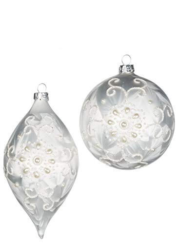 Sullivans Frosted Lace and Pearl, Ball and Drop Christmas Ornaments, Set of 6 in 2 Styles, 6.5