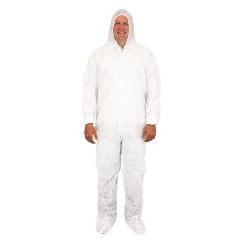 Safety Zone DCWF-5X-40 Disposable Coverall with Hood, Boo...
