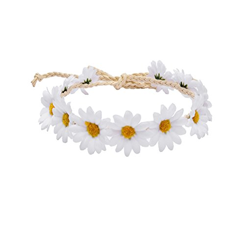 Floral Fall Hippies Sun Flower Headband & Bracelet Festival Hair Wreath Crown (WhiteA) -