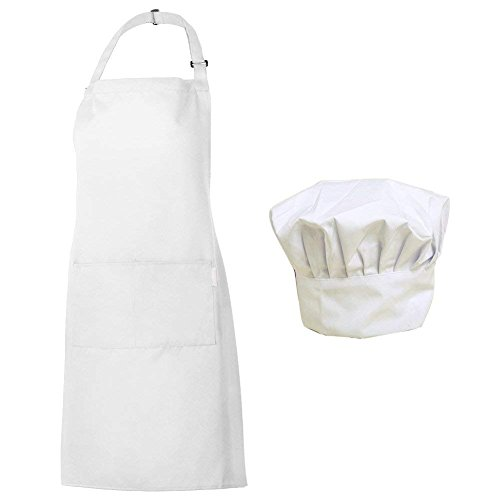 Homsolver Adjustable Bib Chef Apron Set, Chef Hat and Kitchen Apron Adult White Apron with Butcher Hat for Men & Women, White (White.)